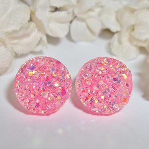 Earrings Post Pink AB Druzy Sparkly Jewelry 3841